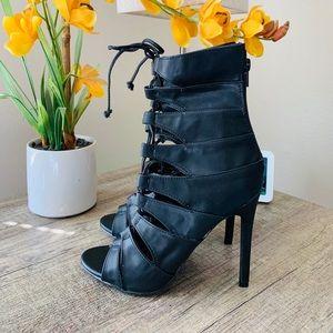 Liliana Black Strappy Gladiator Bootie High Heels